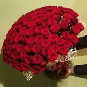 Цветы в Алматы: Букет 101 красная роза 50 см