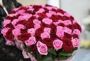 Букет из 101 розовой и красной розы 60 см